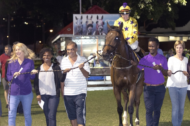 Sunny Bill Du-Toy being led into the winners box at Greyville on the 20th April 2018. This was his maiden win.