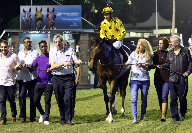 Sunny Bill Du-Toy being led in by the Hollywood Syndicate after his second victory at Greyville - Horse Racing