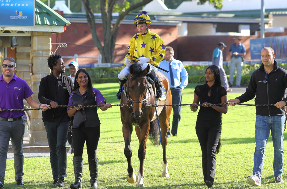 Sunny Bill Du-Toy getting led in after his victory on the Greyville Polytrack on 23rd May 2018.