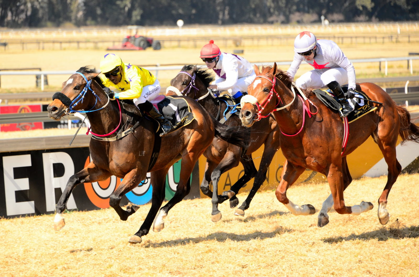 Deago Deluxe being ridden to victory at the Vaal by jockey Kabelo Matsuyane.