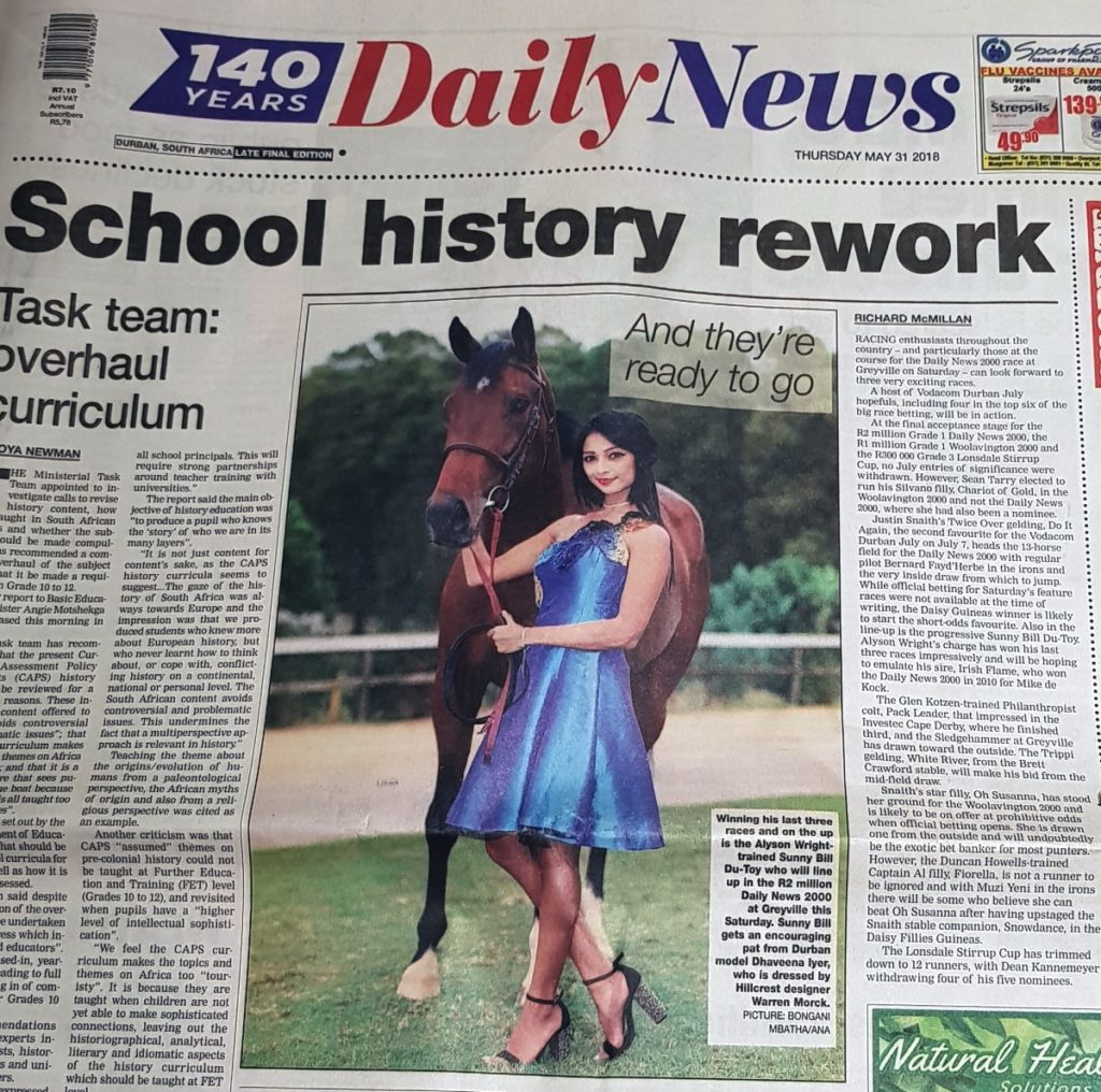 Front page of the Daily News newspaper on 31 May 2018. Sunny Bill Du-Toy featured with a model.