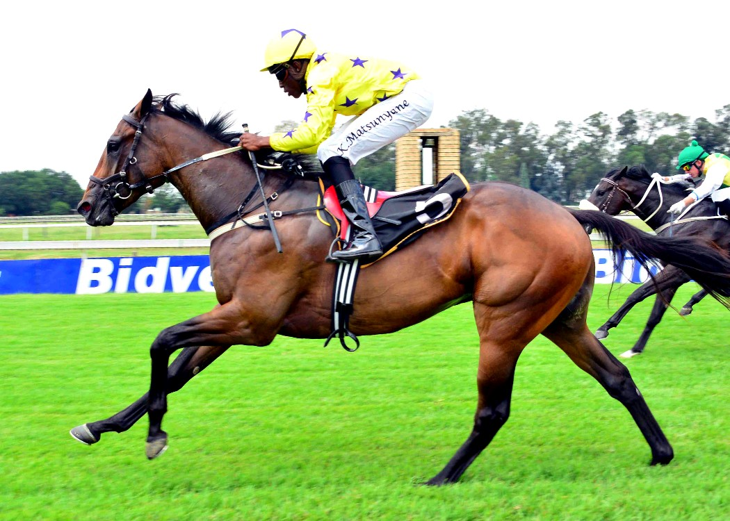 LOOK TO THE SKY winning his maiden at the Vaal with jockey Kabelo Matsuyane on board