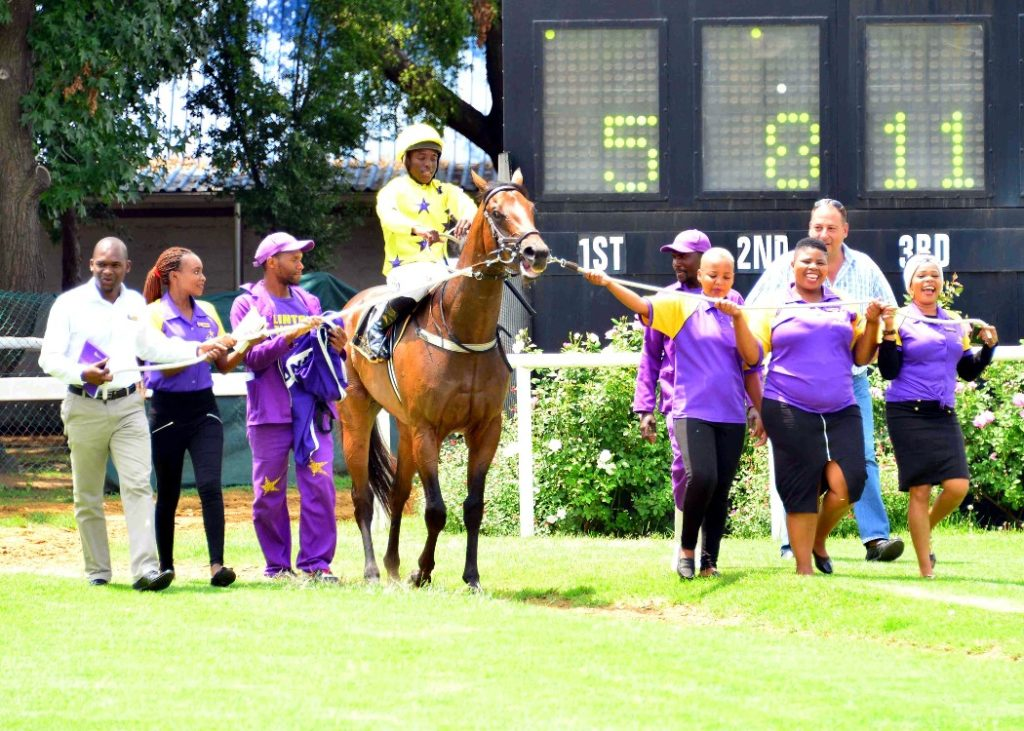 LOOK TO THE SKY getting led in after his victory at the Vaal on 29 January 2019