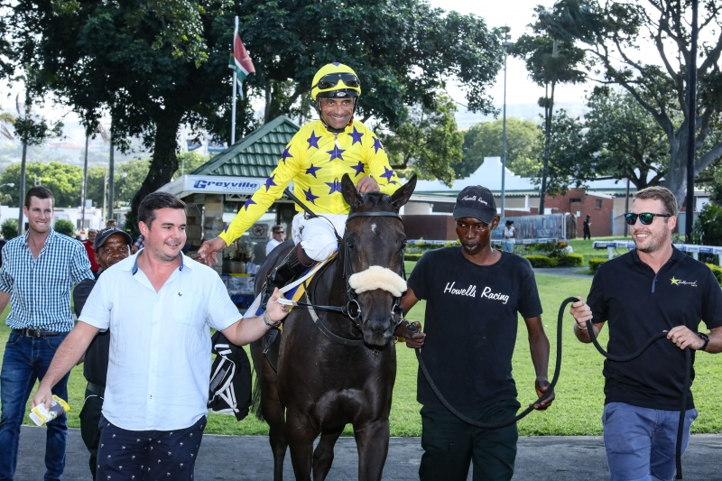 MOCHA ROSE being led in at Hollywoodbets Greyville after her 2nd win. 20th March 2019.