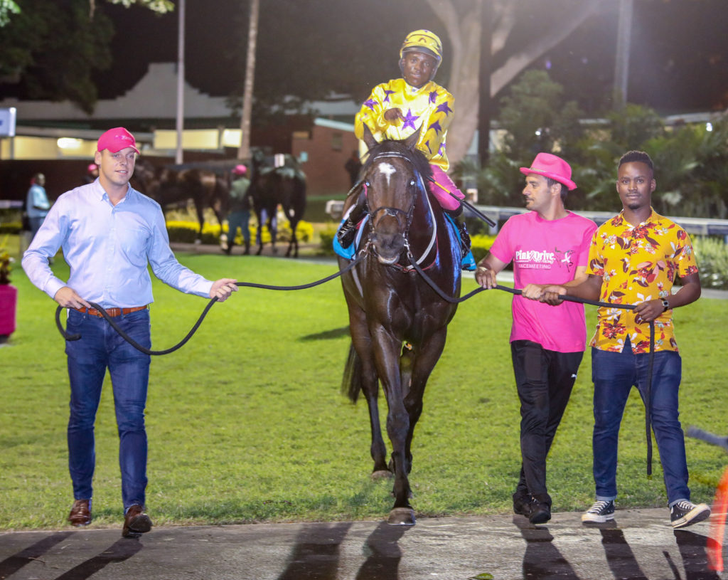Lauren Of Rochelle being led in at Hollywoodbets Greyville after winning the 3rd race on March 29th, 2019.